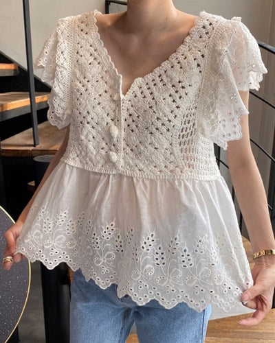 Solid Color Hollow-out Ruffle Short Sleeve Blouse