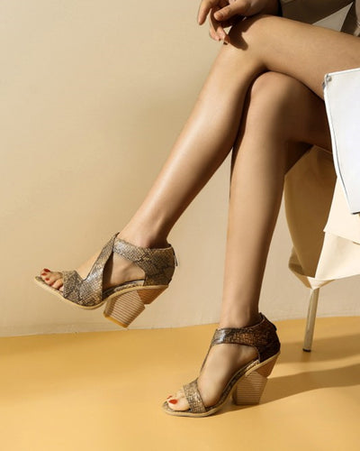 Solid Snakeskin Cross Band Open-toe Wedge Shoes