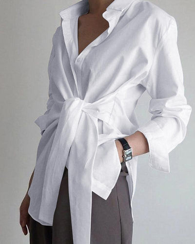 Long Sleeve Tie Front Shirt