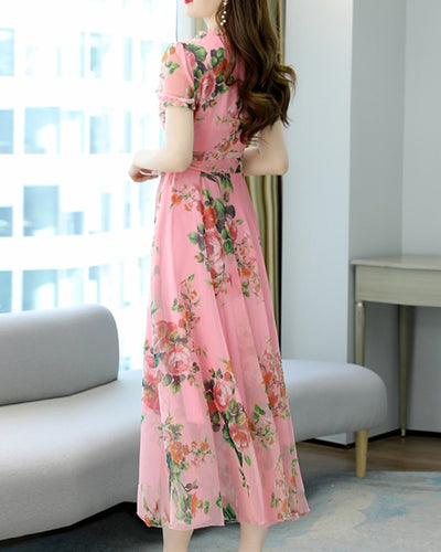 Floral Print Lace-up Short Sleeve Chiffon Maxi Dress