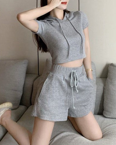 Solid Short Sleeve Skinny Hooded T-shirt With Short Suit Sets