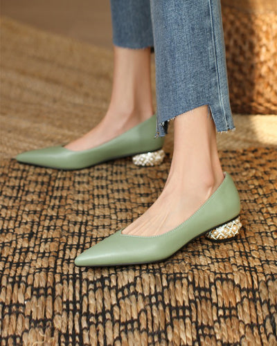 Pointed-toe Solid Color PU Leather Shallow Mouth Heel Slip-on