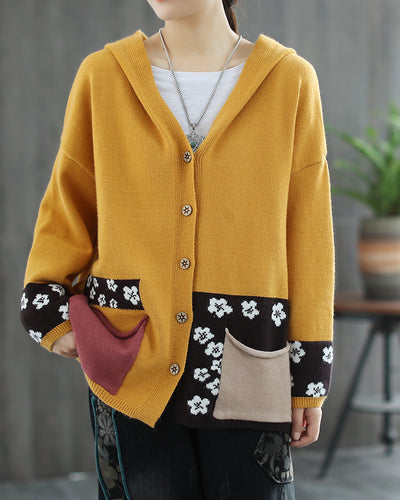 Flower Cable-knit Color Patch Long Sleeve Button-up Hooded Cardigans