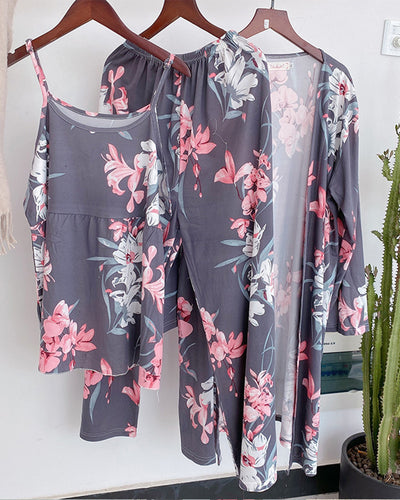 Pinky Flower Print Strap Tanks With Pants And Cover Up Suit Sets