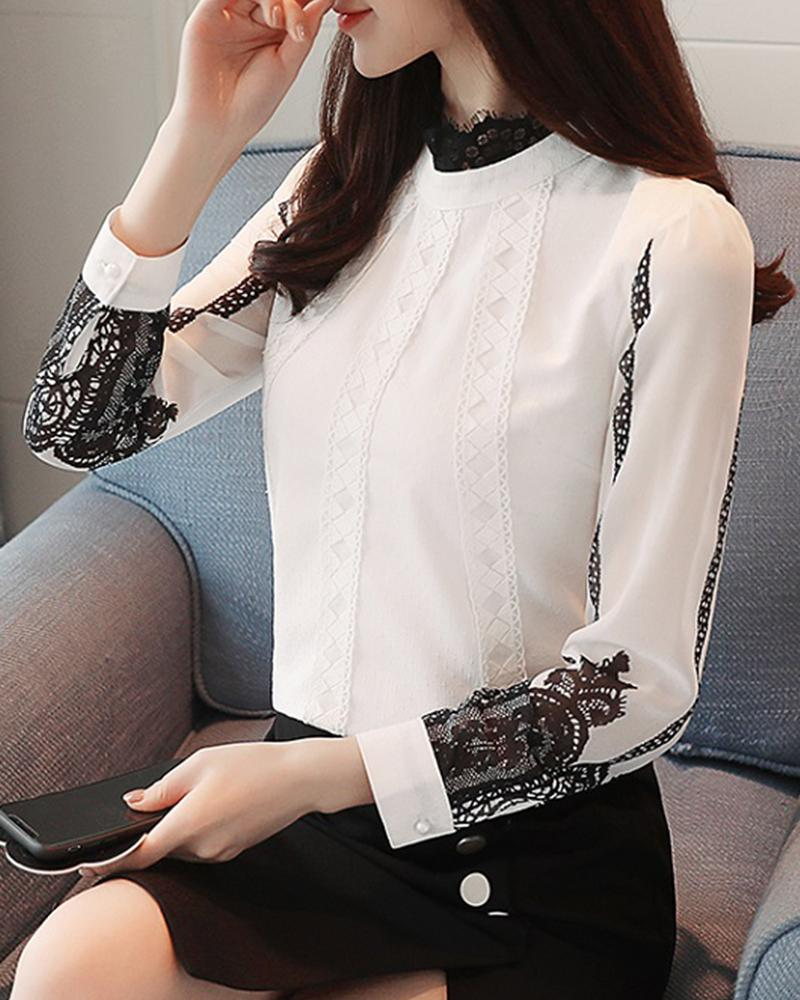 Stand Collar Lace Trim Top