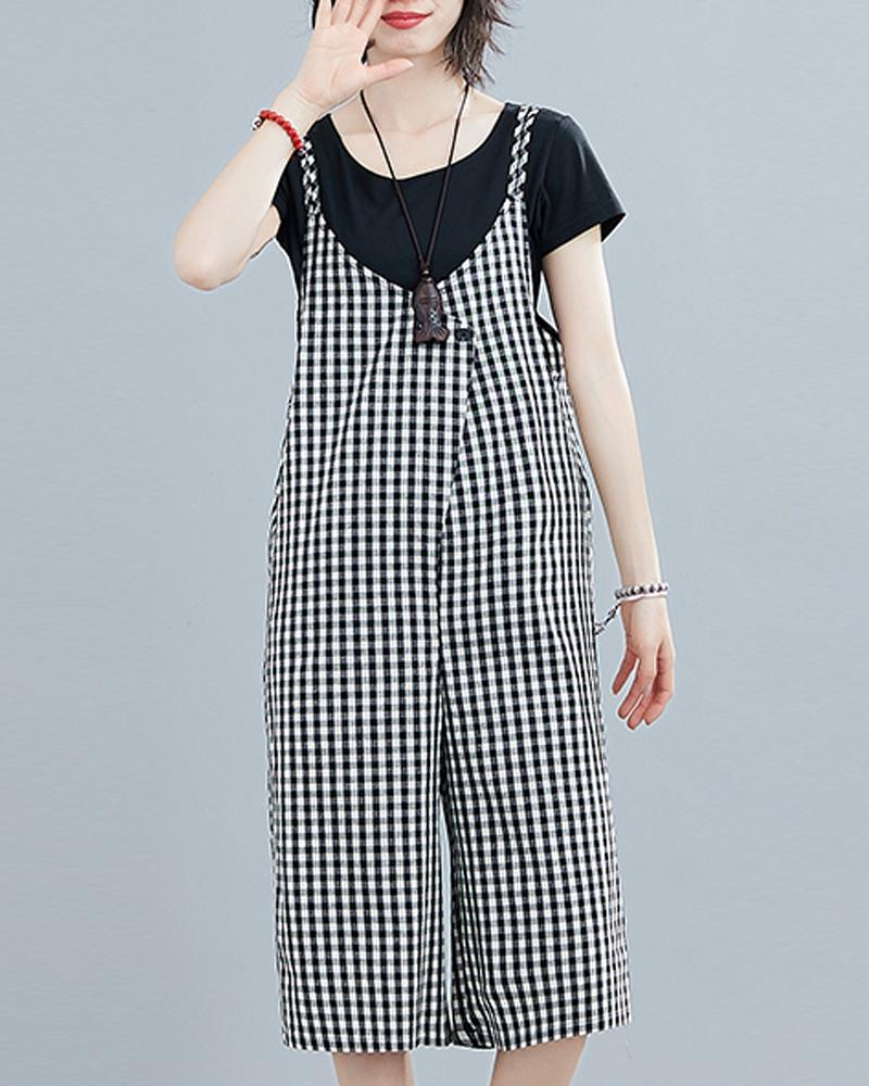 Gingham Wide Leg Overalls
