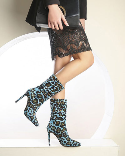 Leopard Pointed-toe High Heel Boots