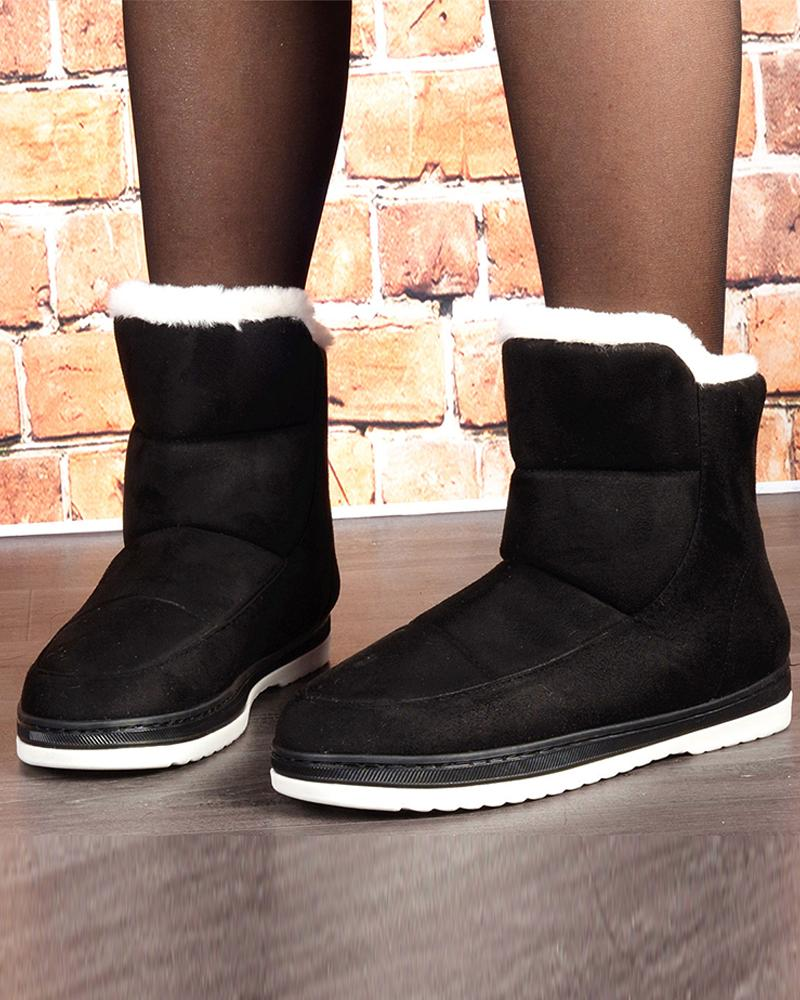 Colorblock Round-toe Fluffy Snow Boots