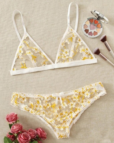 Floral Embroidery Strap Bra With Panties Sexy Sets