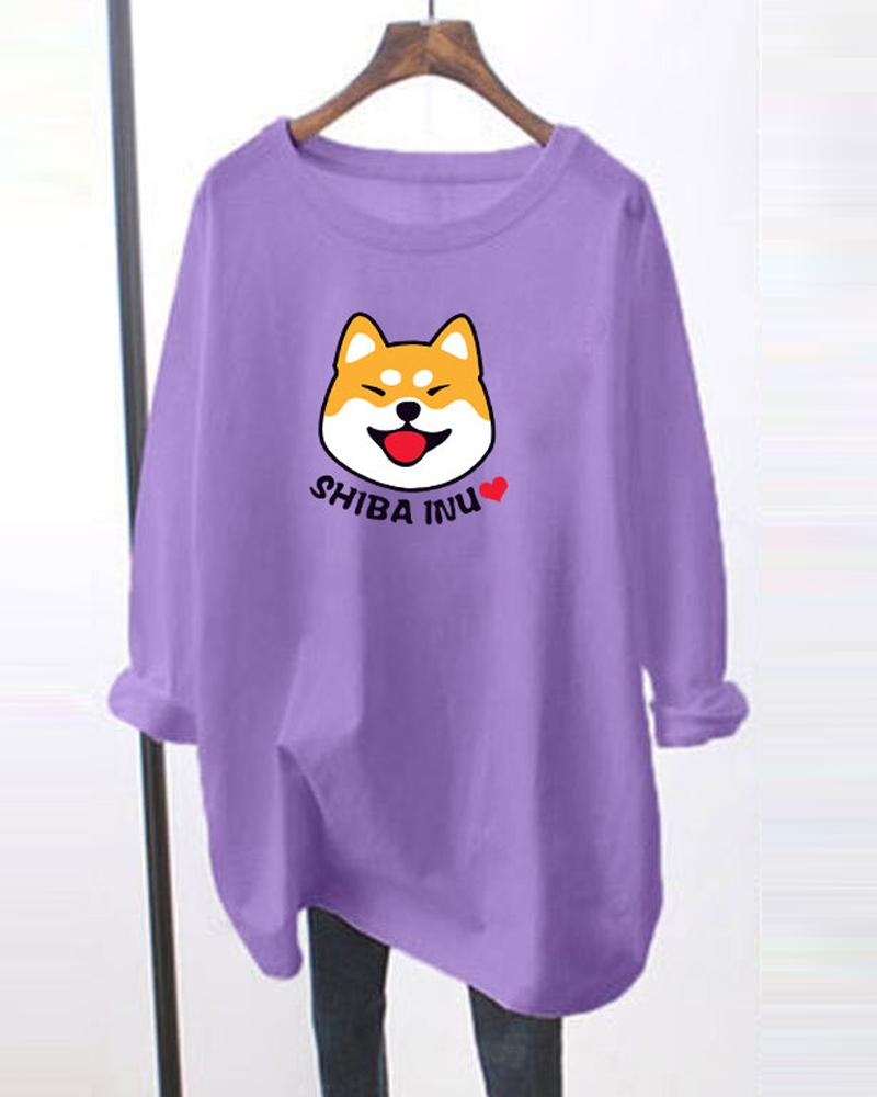 Puppy Print Long Sleeve Oversized T-shirts