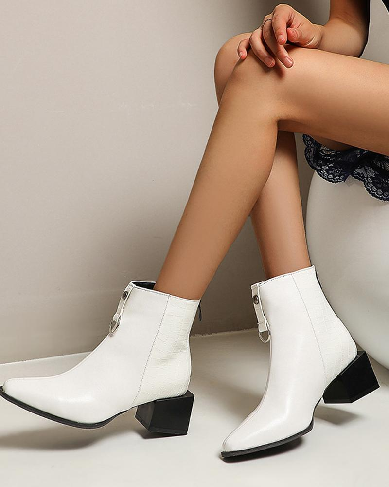 Colorblock Pointed Toe Low Heel Ankle Boots