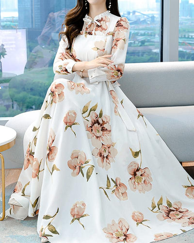 Retro Floral Plus Size Maxi Dress