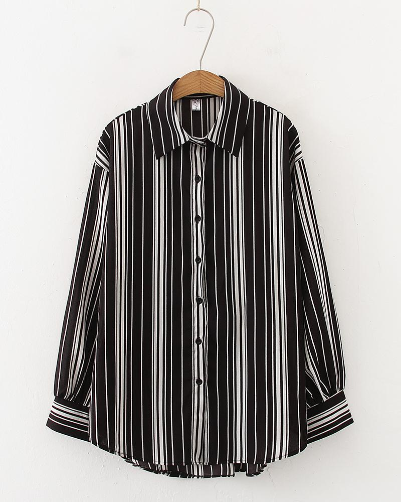 Striped Long Sleeve Loose Blouse
