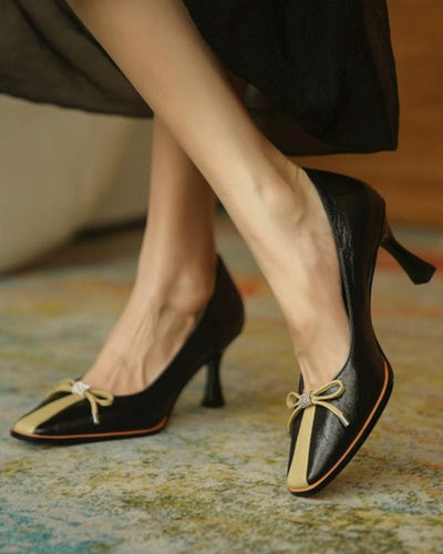Color Block Shallow Mouth Bow Heels