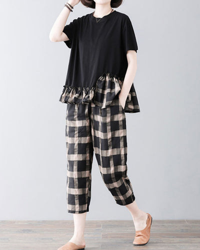 Solid Color Splicing Plaid Short Sleeve T-shirt And Baggy Pants Suit Sets