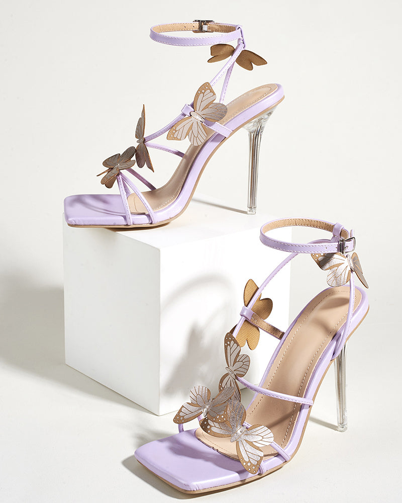 Solid Butterfly Patch Open-toe High Heel Sandals