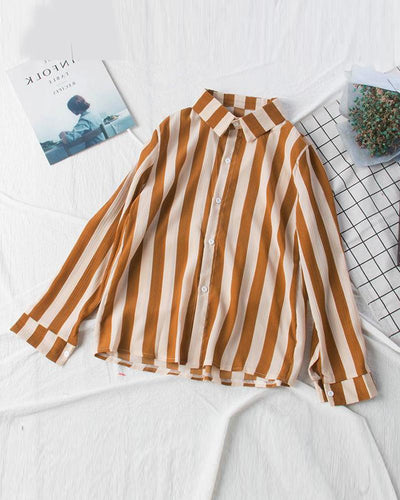 Striped Long Sleeve Chiffon Shirt