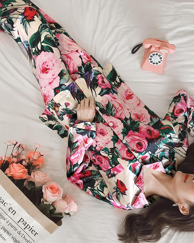 Floral Satin Two-Piece Pajama Set