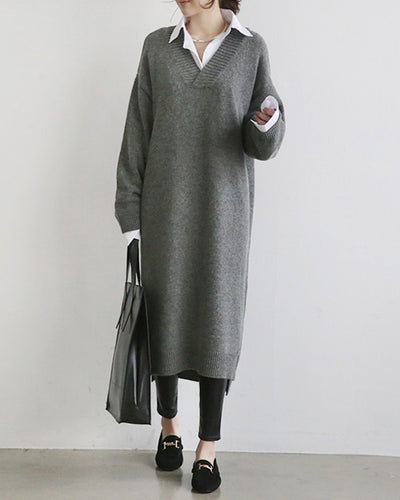 Winter-wear Solid V-neck Sweater Dress