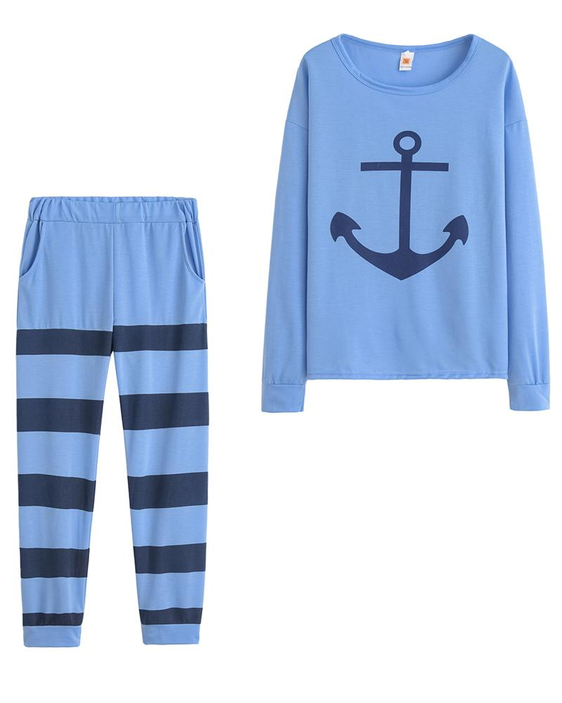 Anchor Printing Long Sleeve T-shirt With Wide Striped Pants Suit Sets