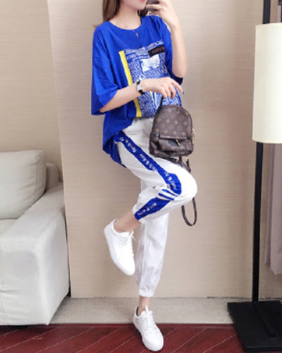 Letter Print Short Sleeve T-shirt And Sweatpants Suit Sets