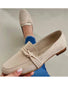 Round-toe Solid Color Suede Leather Loafers