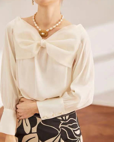 Solid Bowknot Patch Long Sleeve Loose Blouse