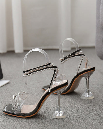 Bow Square-toe Hollow High Heels