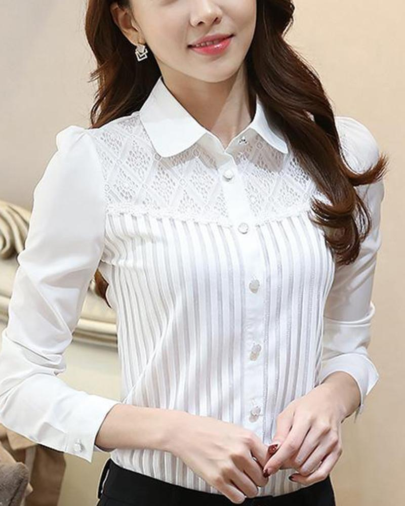 Lace Detail Button-Down Blouse