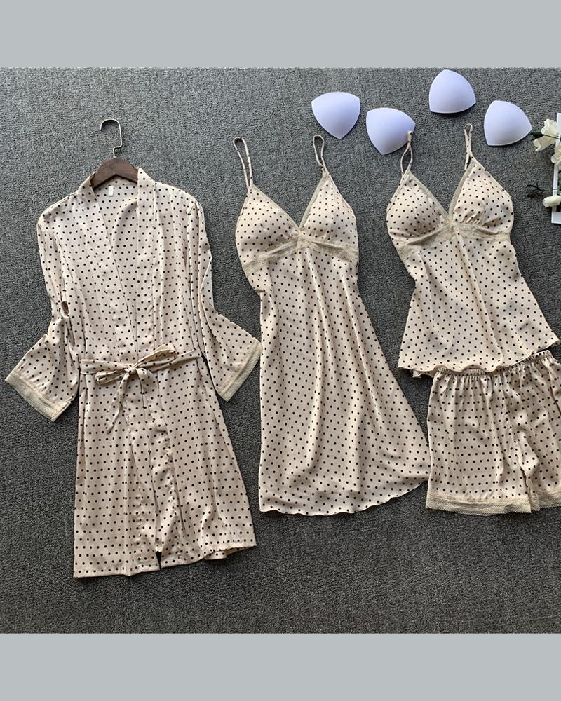 Polka Dot Tank Shorts Nightgown Sleepshirt Sets