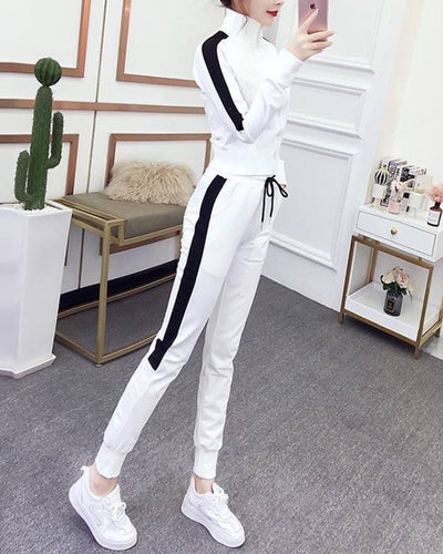 Solid Color Striped Side Long Sleeve Suit Sets