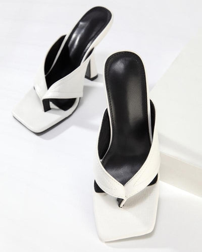 Solid Color Clip Toe Heels Sandals