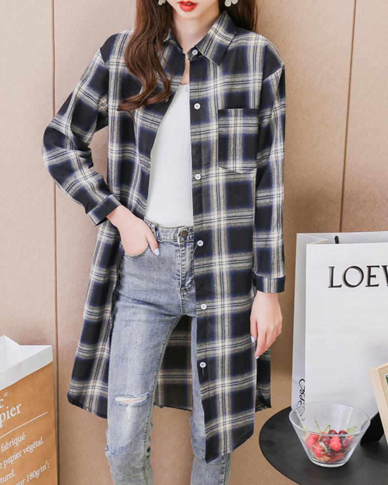 Plaid Long Sleeve Loose Coat