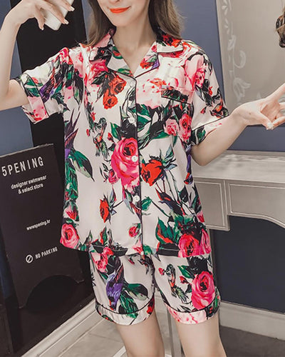 Rouge Floral Print Short Sleeve Loose Button-up Blouse With Shorts Pajamas Sets