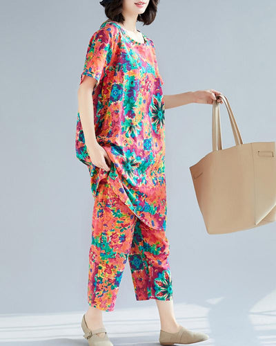 Abstract Floral Top & Pants