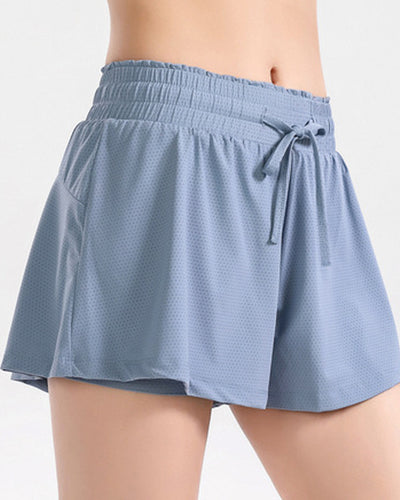 Solid Color Mesh Drawstring Sport Short Pants
