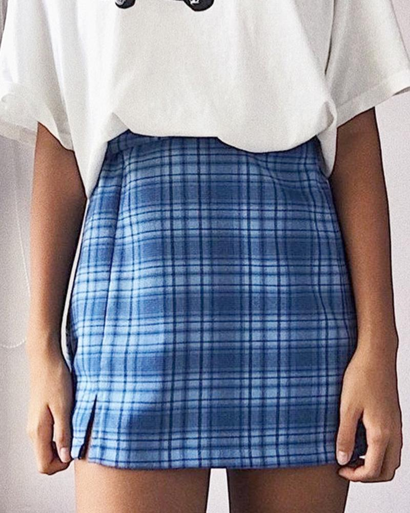 Plaid Double Slit Mini Skirt