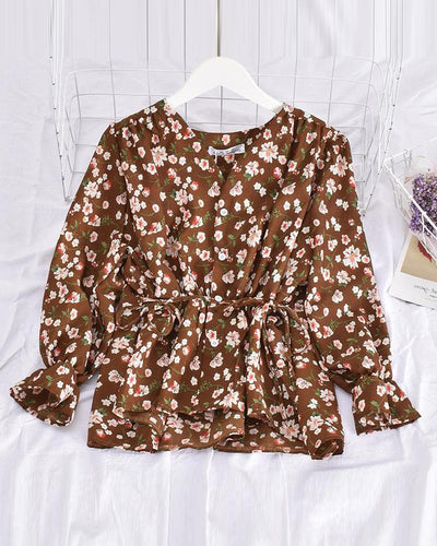 Floral Tie Waist Button Top