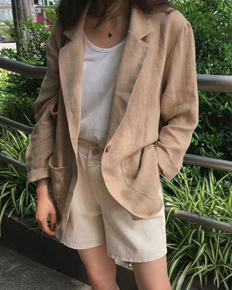 Loose Solid Long Sleeve Coat