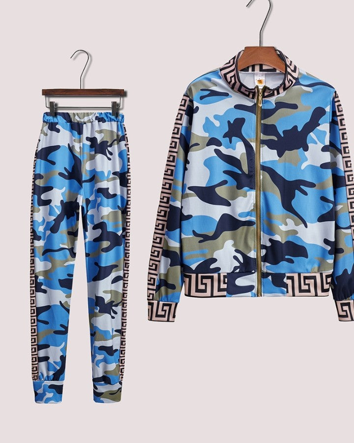 Camouflage Long Sleeve Loose Suit Sets