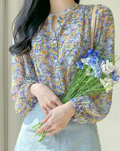 Floral Print Long Sleeve Button-up Blouse