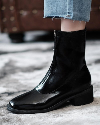 Solid Patent Leather Chelsea Boots