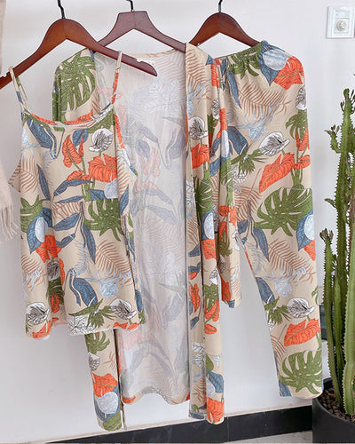 Leaf Print Strap Tanks With Pants And Cover Up Suit Sets