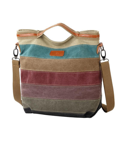 Colorblock Patchwork Tote Canvas Handbag