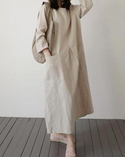 Linen Midi Shift Dress