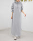 Solid Hooded Long Sleeve Dress