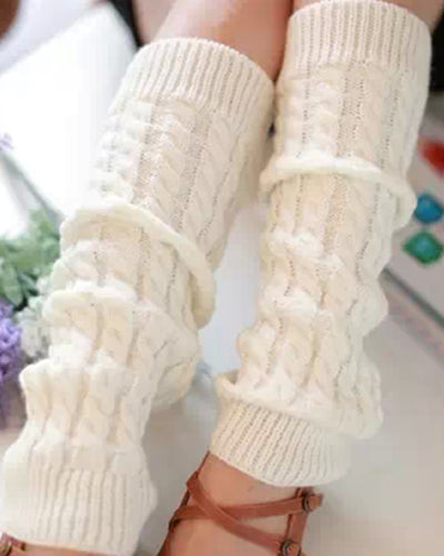 Solid Cable Knit Over-knee Skinny Socks