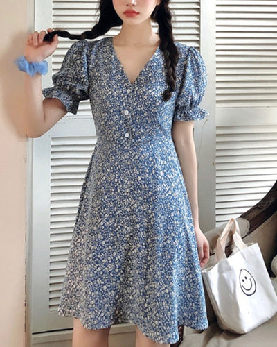Floral Print Short Sleeve Skinny Casual Dress
