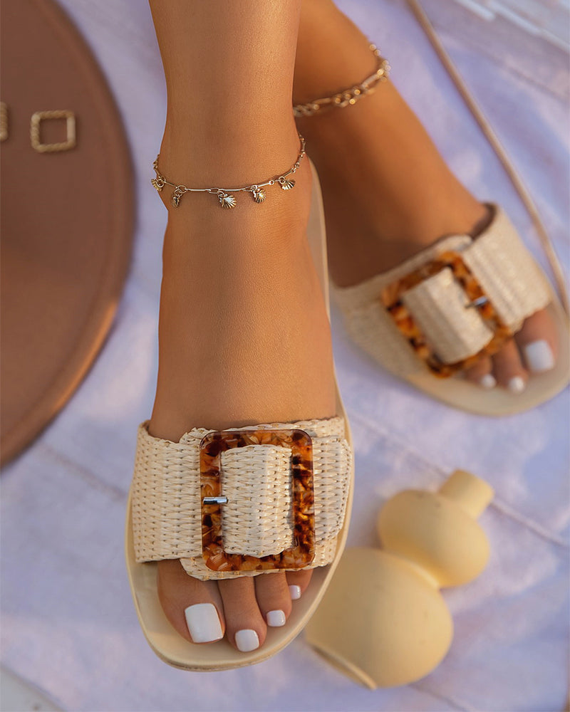 Round-toe Solid Color Splicing Buckles Flat Slippers