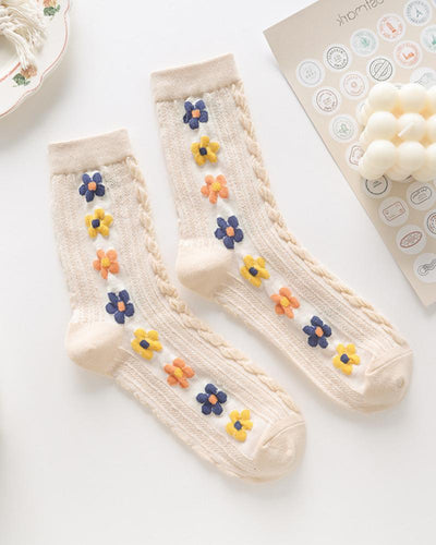 Flowers Embroidery Cable-knit Midi Socks